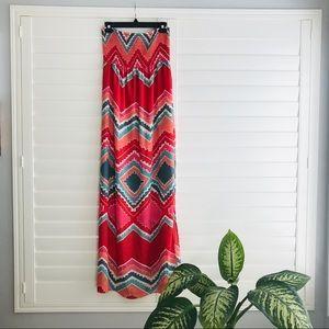 Aqua Strapless Tribal Patterned Maxi Dress